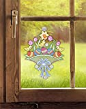 Plauener Spitze Fensterbild Osterwiese (BxH) 23 x 29 cm inkl. Saughaken Fensterdeko
