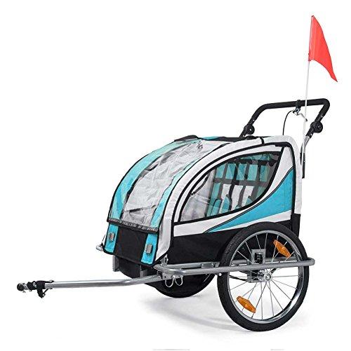 SAMAX Fahrradanhänger Jogger 2in1 360° drehbar Kinderanhänger Kinderfahrradanhänger Transportwagen vollgefederte Hinterachse für 2 Kinder in Blau - Silver Frame - 3