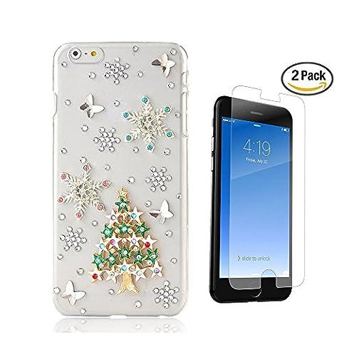 iPhone 7 Plus Hülle, STENES 3D Handgefertigt Diamant Strass Schutz Handy Tasche Kristall Hülle mit Panzerglas Displayschutzfolie & Anti Staub Stecker - Weihnachten Sterne Schnee Schmetterling / Grün