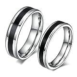 Daesar Frauen Verlobungsringe Edelstahl Ringe Schwarz Silber Schwarz Streifen Ringe Mit Geschenk-Box Größe 52 (16.6)
