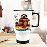 ilka parey wandtattoo-welt Thermobecher Thermotasse Thermosflasche Becher Tasse Faultier Angler mit Spruch Keep Calm and go Fishing tb079