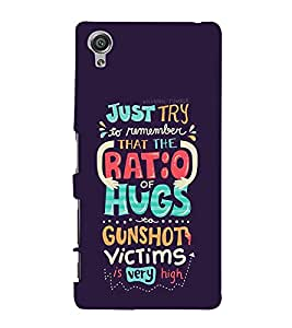 FUSON Just Try Ratio Hugs 3D Hard Polycarbonate Designer Back Case Cover for Sony Xperia X :: Sony Xperia X Dual F5122