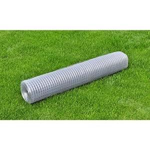 Grillage soudé carré 25m 19x19 hauteur 1m, fil 0,65mm pour cages, volières, protection des massifs et potager - gris