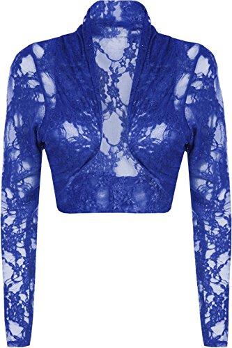 NEW Mesdames dentelle Boléro à manches longues pour plus Taille Haut cardigon stretch Bleu Marine
