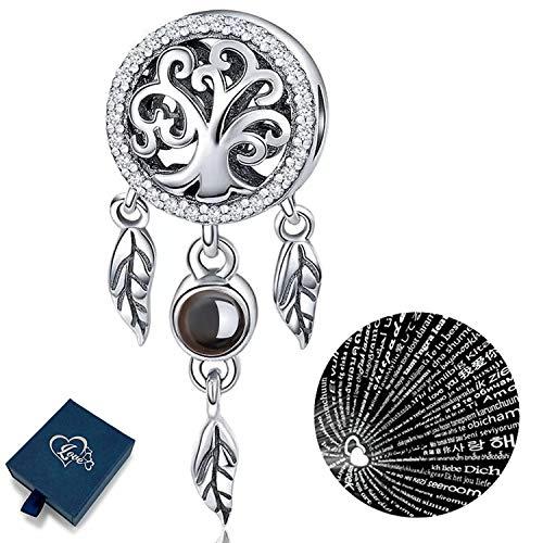 Youfeng - ciondolo in argento sterling 925, compatibile con braccialetti pandora e collane, motivo: acchiappasogni in 100 lingue