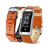 Wj Reloj De Pulsera Inteligente con Bluetooth, Podómetro De Calorías, Sensor De Ritmo Cardíaco Fitness Tracker, Brazalete Sport Smartband para Android iOS, IP67 Impermeable, Marrón,Orange