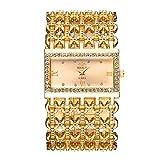 Orologi Donna con Openwork Braccialetto largo, Quadrante rettangolare Scala strass Lusso Orologi da polso per donna, Oro