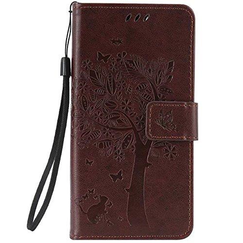 WIKO LENNY 3 Case, embossé Fleurs Cat And Arbre Solide boîtier Wallet Stand étui en cuir couleur PU Avec Dragonne Silicone Cover Pour WIKO LENNY 3 ( Color : Red , Size : WIKO LENNY 3 ) Dark Brown