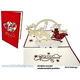 LIN - Pop Up 3D Biglietto d'auguri di Natale, Renne di Babbo Natale