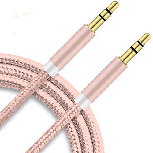 Preisvergleich Produktbild 2Ticks Audio-Klinkenstecker Starkes Geflochtenes Nylon-Gold Überzogenes Aux-Kopfhörerkabel 3.5Mm Mann Zum Mann - Rose Gold [ 1M ] For Samsung Z2