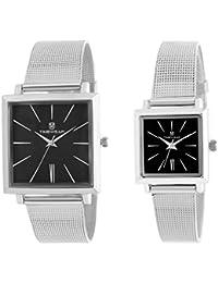 TIMEWEAR Analogue Black Dial Men's & Women's Couple Watch (912Chbdtcouple)