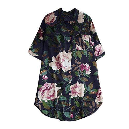 Asalinao Damen Floral bedruckten Oansatz Kurzarm Lässige Vintage Shirts Bluse Top - 40er Jahre Dessous