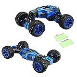 Virhuck Ferngesteuert Auto 1:10 Stunt Auto 2.4GHz, 4WD High Speed Rennwagen Deformiertes Auto, doppelseitigen Flip RC Car, 2 Seitiger Kunststück Fahrzeug Geländewagen-Blau