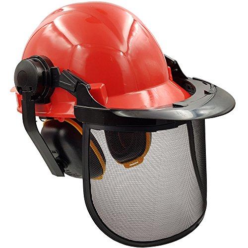 Forst-Schutzhelm: Arbeitshelm mit verstellbarem Gehörschutz und abnehmbarem Gesichtsschutz aus Metall - Forsthelm professioneller Waldarbeiter-Helm