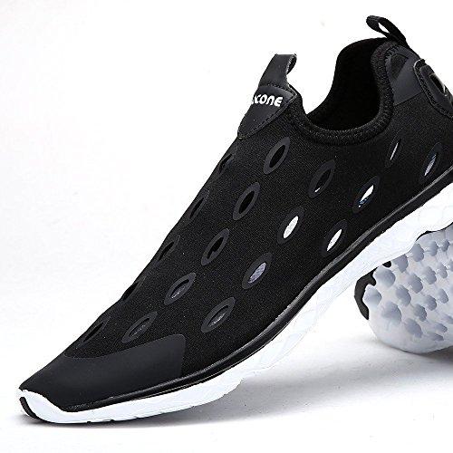 Wasser Schuhe aleader Damen Slip auf Walking Schuhe Schwarz