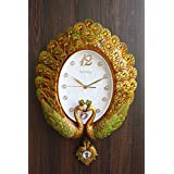 FunkyTradition Pearl Multicolor Peacock Pendulum Wall Clock , Wall Watch , Wall Decor For Home Office Decor And Gifts 55 CM Tall
