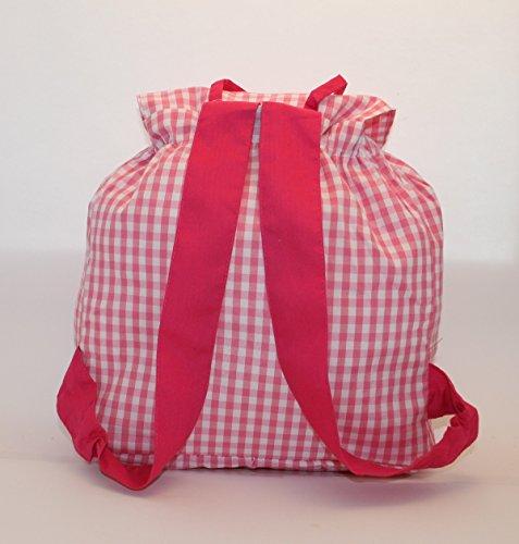 Imagen de bolsa  bailarina, en tela vichy cuadros rosas y blancos, personalizada con nombre. / 31x26x13cm./ alternativa