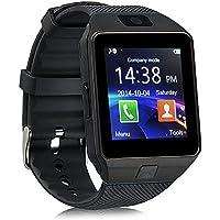 smartwatch ZKCREATION Bluetooth reloj inteligente DZ09 smartwatch sim Rastreador fitness smartwatch hombre pulsera actividad inteligente whatapp cámaras waterproof Compatible con Android e IOS(Negro)