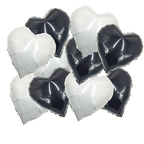 ballonfritz® Herz-Luftballon-Set in Schwarz und Weiß / Black and White 10-TLG. - XXL 18