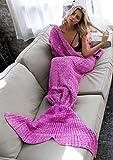 Von Hand gefertigte, gehäkelte Meerjungfrauenflossen-Decke für Erwachsene und Kinder von Elite99, für Sofa, Wohnzimmer, Baumwolle / Baumwollmischgewebe, Adult-Purple, 180CMx90CM