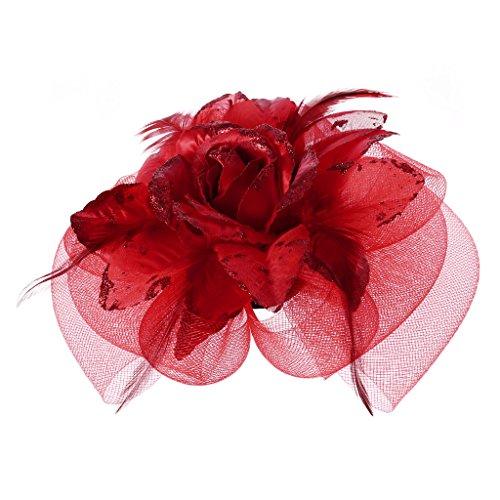Burgundy Rose Blush (Eliky Damen Party Fascinator - Cocktail-Hut für den Haarschmuck Rose Rose Bridal)