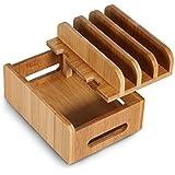 MaxTronic Soporte de Bambú con 4 Cuadros Organizador de Escritorio Dispositivos Múltiples Organizador de Cables