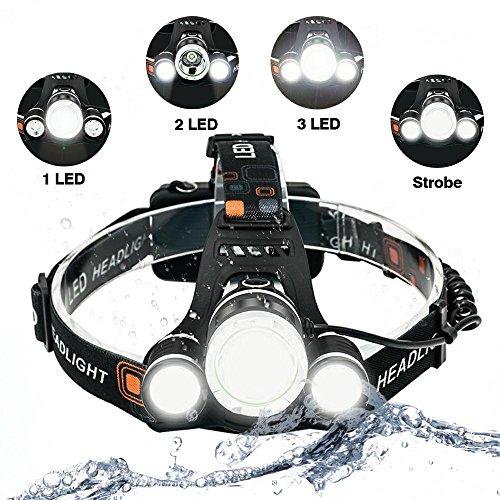 Linterna Frontal Linterna de Cabeza 3 LEDs 5000 Lúmenes IP65 Impermeables 4 Modos de Luces hasta 400m 2 Pilas Recargables Incluidas Para Camping, Pesca, Ciclismo, Caza, Emergencia