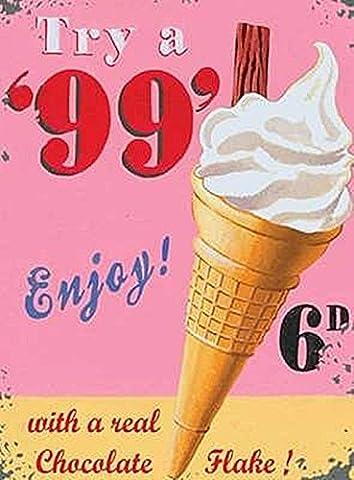 99 Vanilla Ice Cream Cone & Flake Old Vintage Shop