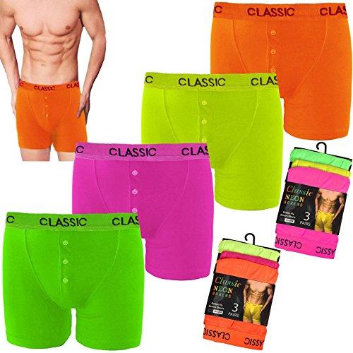 12 paires Hommes Boxer pour Homme Étui couleur néon Fashion bande coton Sous-vêtements, Fluo, Small