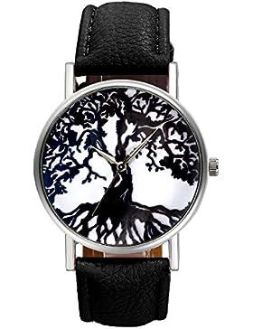 Lancardo Herren Damen Uhr, Leder Band Armbanduhr, Fashion Casual Analoge Quarz Sportuhr mit Lebensbaum Muster,...