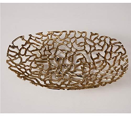 Home Collection Cuenco Bandeja Decorativa Metal Dorado
