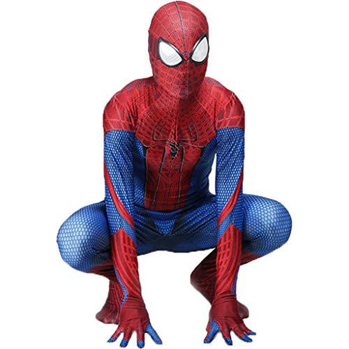 QWEASZER Klassische Erstaunliche Spider-Man kostüm Spiderman kostüm Cosplay Zentai Kostüm Erwachsene Halloween Kostümparty Film Kostüm Requisiten,Amazing SpiderMan-140~150cm