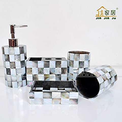 QUEEN'S Méditerranée orientale luxe haut de gamme perles noires coquilles de tapis de salle de bains d'équipements de salle de bain et salle de bains en résine avec cinq pièces de couverture,salle de bain,Kit d'accessoires de bain d'ensemble