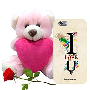 Homesogood Loving You Is Easy Grey 3D Mobile Case For iPhone 6 (Back Cover) With Teddy & Red Rose