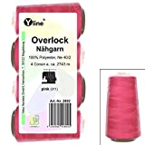 4 Stück Spulen Overlock - Nähgarn, pink, a. 2743 m, NE 40/2, 100% Polyester, Nähfaden, Nähmaschinen Garn, 2892