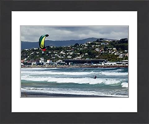 Framed Print of Kite surfer with airport in background, Lyall Bay, Wellington, North Island