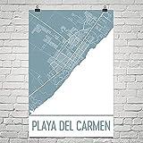 Modern Map Art Mapa de playa del Carmen, arte de Playa del Carmen 12 'X 18'