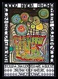 Hundertwasser Arche Noah Poster Kunstdruck Bild im Alu Rahmen in schwarz 84,1x59,4cm