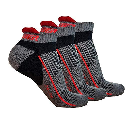 Ogeenier 3 Paar Herren Sportsocken Gepolsterte Sportliche Socken Laufsocken Atmungsaktive Anti-Geruch Baumwolle Unisex Sport Socken M (EU 39-42, 24-26 CM) grau schwarz -