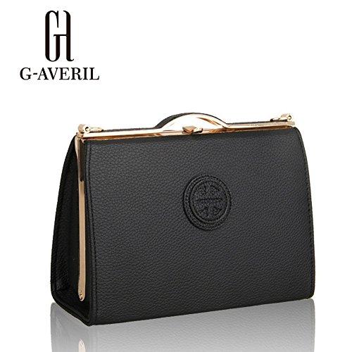 (G-AVERIL) Moda spalla sacchetto impermeabile borsetta di pelle sintetica nero