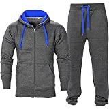 Juicy Trendz Uomo Athletic lunghi Selves pile Zip intera palestra tuta da jogging Set usura attivo Charcoal/Blue M