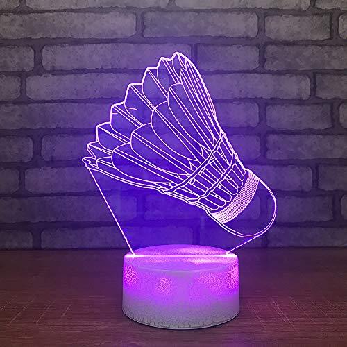Kinder Touch Button Usb 3D Led Nachtlichter Visuelle Badminton Modellierung Tischlampe Schlafzimmer Schreibtisch Beleuchtung Wohnkultur Leuchten, fernbedienung