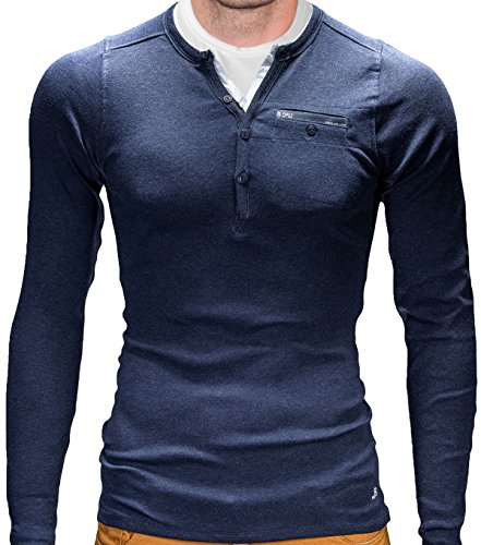 BetterStylz Longsleeve T-Shirt Langarm Shirt Sweatshirt Pullover Pulli Slim Fit Rodrigo div. Farben (XS-3XL) Navy Blau