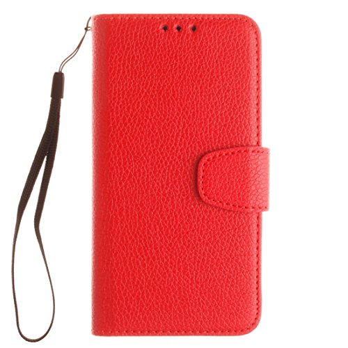 Für Samsung Galaxy E5 Litchi Textur Horizontale Flip PU Leder Cover Case mit Halter & Card Slots & Wallet & Photo Frame & Lanyard by diebelleu ( Color : Red ) Red