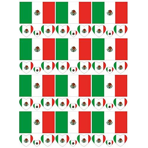 SpringPear 12x Temporär Tattoo von Flagge Mexikos für Internationale Wettbewerbe Olympischen Spiele Weltmeisterschaft Wasserfeste Fahnen Tätowierung Flaggenaufkleber WM Fan Set (12 Pcs)