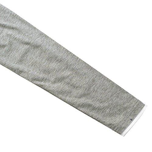 MODCHOK Herren Langarmshirt Sweatshirt Einfarbig Shirt T-Shirt Hoher Hals Zipper Hemd Hellgrau 2