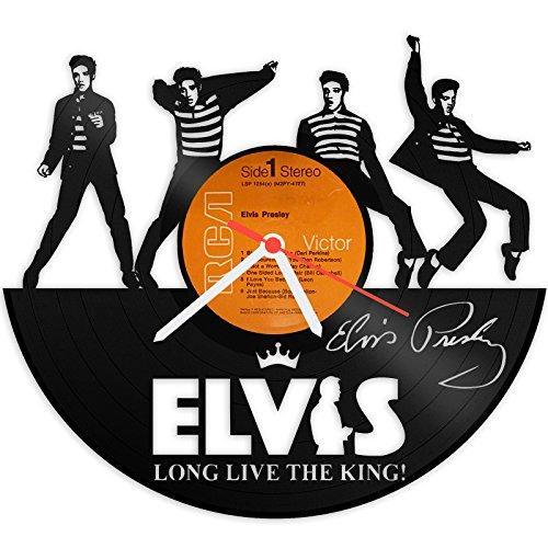 GRAVURZEILE Wanduhr aus Vinyl Schallplattenuhr Elvis Presley Upcycling Design Uhr Wand-Deko Vintage-Uhr Wand-Dekoration Retro-Uhr Made in - Elvis-souvenir