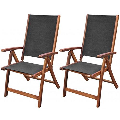 Festnight 2 Stk. Klappstühle Gartenstühle aus Akazienholz und Textilene Klappbar Stuhl-Set Stühle...