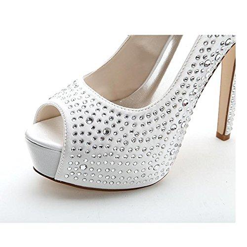 LEI&LIWomens ladies Satin Peep Toe haut talons plateformes strass partie chaussures de mariage de soirée de mariage red