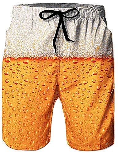 Loveternal Badeshorts für Männer 3D Schnell Trocknend Bier Badehose Lustig Coole Hawaii Badehose Gelb M (Heben Sie Sich)